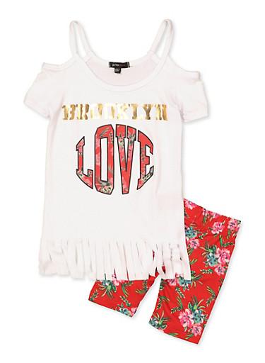 Girls 4-6x Love Fringe Cold Shoulder Top and Bike Shorts,WHITE,large