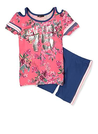 Girls 4-6x Floral Cold Shoulder Top and Bike Shorts,PINK,large