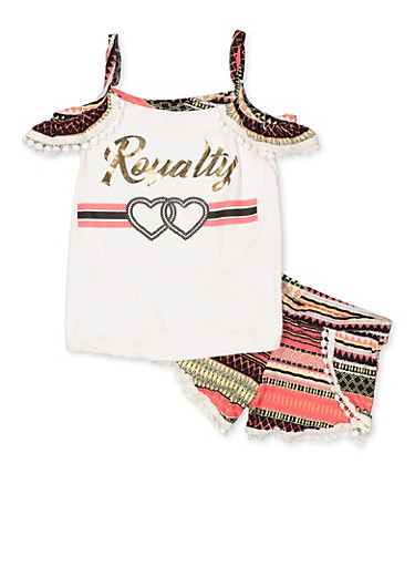 Girls 4-6x Royalty Cold Shoulder Top and Shorts,BLACK/WHITE,large
