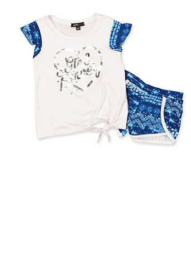Girls 4-6x Girl Power Tie Front Top and Shorts,WHITE,large