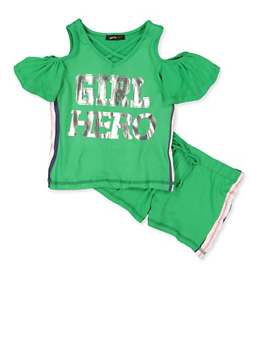 Girls 4-6x Girl Hero Cold Shoulder Top and Shorts,GREEN,large