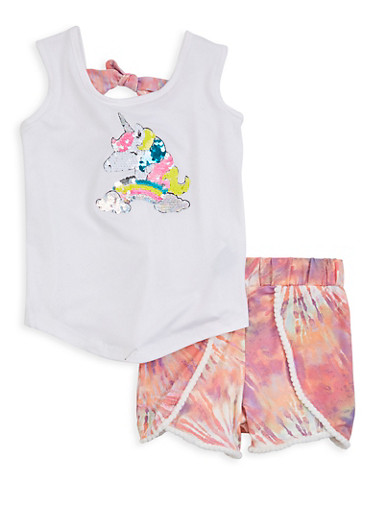 Little Girls Reversible Sequin Unicorn Top and Shorts,WHITE,large