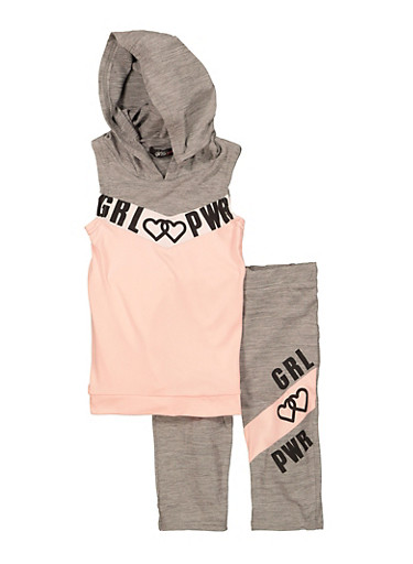 Little Girls Hooded Active Tank Top and Biker Shorts,PINK,large