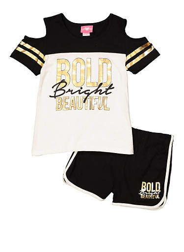 Girls 4-6x Bold Bright Beautiful Tee with Dolphin Shorts,BLACK/WHITE,large