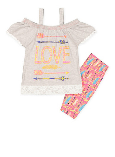 Girls 4-6x Graphic Top with Bermuda Shorts,HEATHER,large