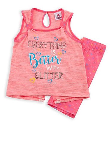 Girls 4-6x Glitter Graphic Tank Top with Printed Shorts Set,NEON PINK,large
