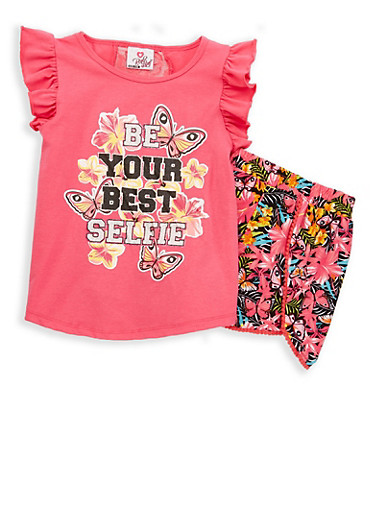 Girls 4-6x Graphic Flutter Sleeve Top with Shorts,FUCHSIA,large