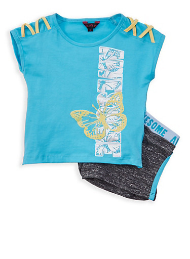 Girls 4-6x Awesome Graphic Top with Shorts,TURQUOISE,large