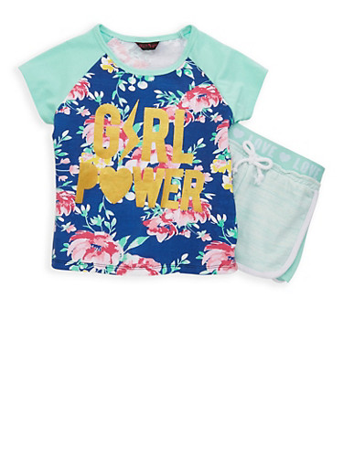 Girls 4-6x Floral Graphic Tee and Shorts,MINT,large