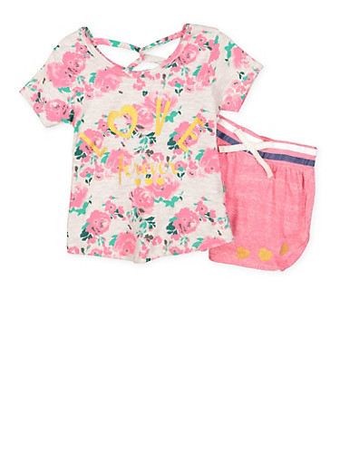 Girls 4-6x Printed Top with Shorts,HEATHER,large