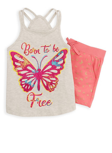 Girls 4-6x Glitter Graphic Tank Top and Shorts Set,IVORY,large
