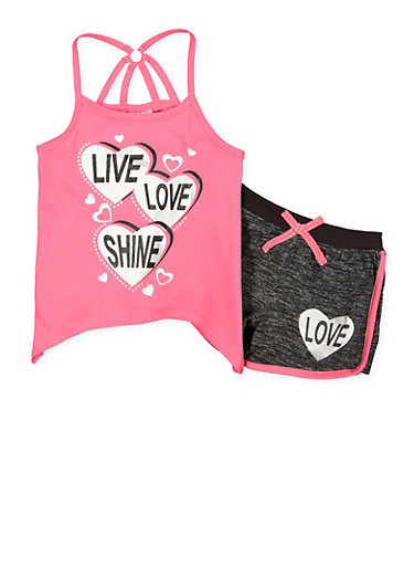 Girls 4-6x Graphic Tank Top with Shorts,PINK,large