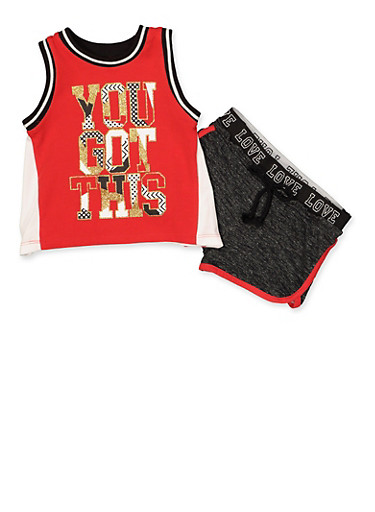 Girls 4-6x You Got This Tank Top and Shorts Set,RED,large