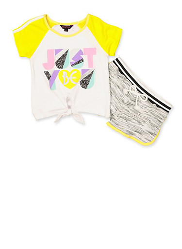 Girls 4-6x Just Be You Top and Shorts Set,YELLOW,large