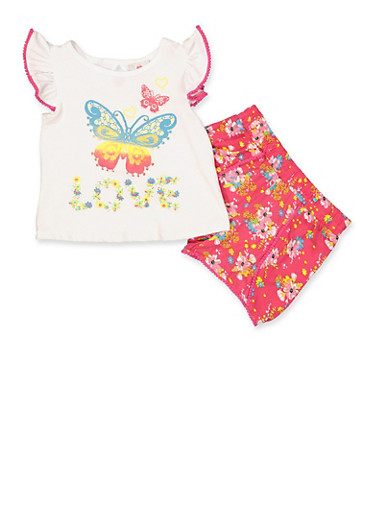 Girls 4-6x Butterfly Graphic Tee with Floral Shorts,WHITE,large