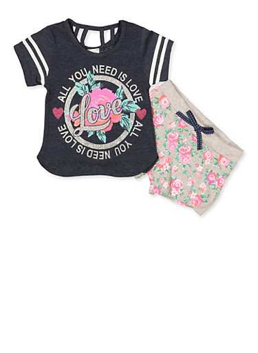 Girls 4-6x All You Need Is Love Tee and Shorts,NAVY,large