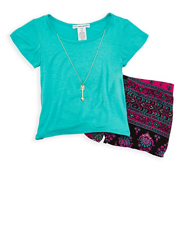 Girls 4-6x Top with Necklace and Printed Shorts,TURQUOISE,large