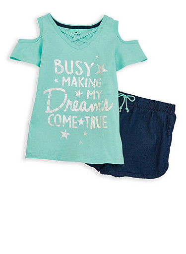 Girls 4-6x Graphic Cold Shoulder Top with Shorts,MINT,large