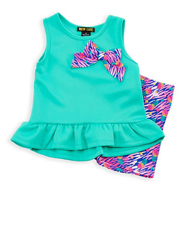 Girls 4-6x Scuba Knit Top with Printed Shorts Set,MINT,large