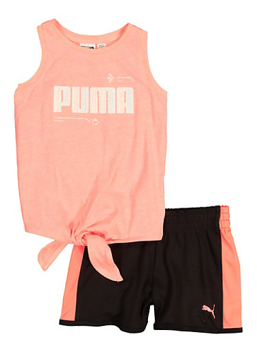 Little Girls Puma Tie Front Tank Top and Shorts Set,PINK,large