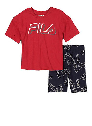 Little Girls Fila Graphic Tee and Printed Shorts,RED,large