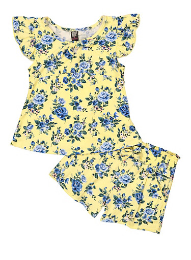 Girls 7-16 Tie Front Floral Tee and Shorts,YELLOW,large