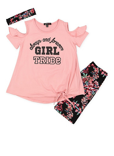 Girls 7-16 Graphic Top with Bermuda Shorts and Headband | Tuggl