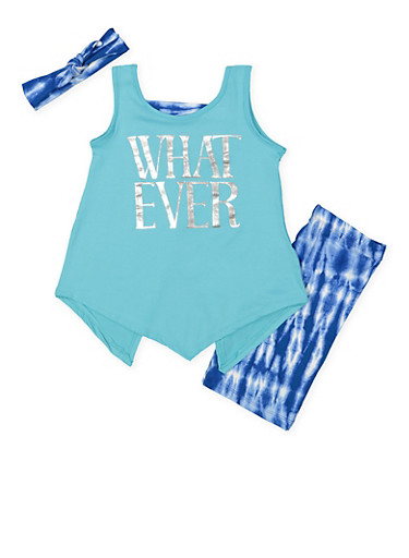 Girls 7-16 Graphic Top with Bermuda Shorts and Headband,TEAL,large