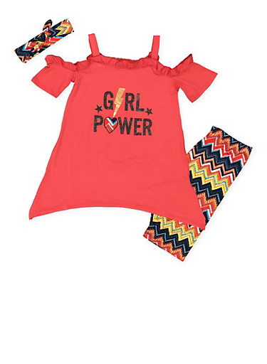 Girls 7-16 Graphic Top with Bermuda Shorts and Headband,RED,large