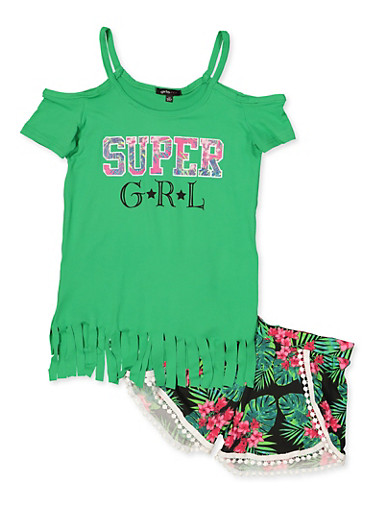 Girls 7-16 Super GRL Cold Shoulder Top with Dolphin Shorts,GREEN,large