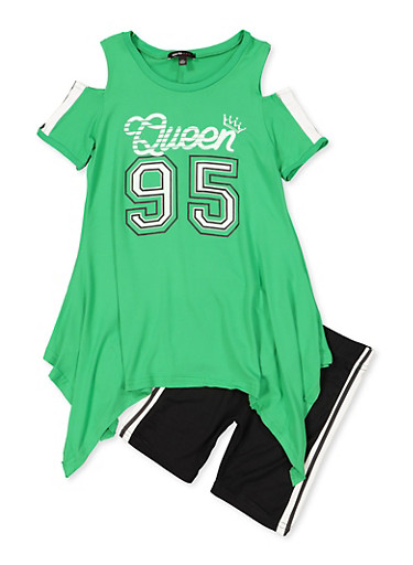 Girls 7-16 Queen 95 Cold Shoulder Top with Bike Shorts,GREEN,large
