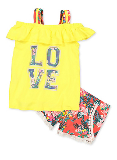 Girls 7-16 Floral Love Cold Shoulder Top and Shorts,YELLOW,large