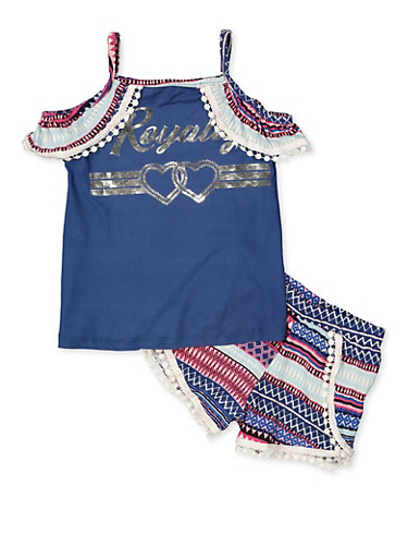 Girls 7-16 Royalty Cold Shoulder Top and Shorts,NAVY,large