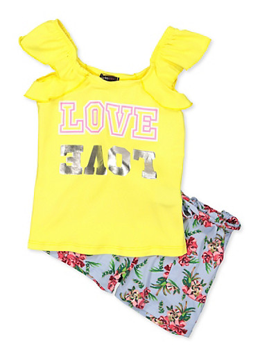 Girls 7-16 Love Graphic Top and Floral Shorts Set,YELLOW,large