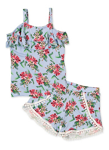 Girls 7-16 Ruffle Floral Top with Dolphin Shorts,MINT,large
