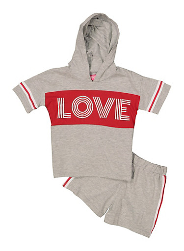 Girls 7-16 Love Hooded Top with Shorts,RED,large