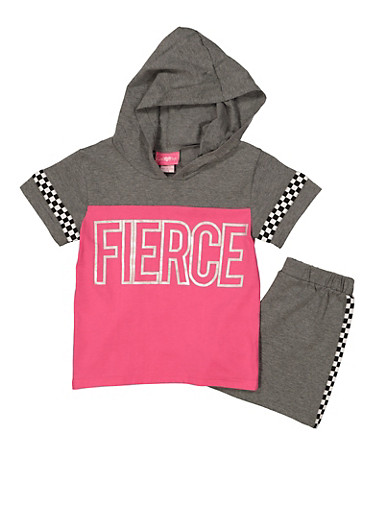 Girls 7-16 Fierce Hooded Top with Shorts,GRAY,large