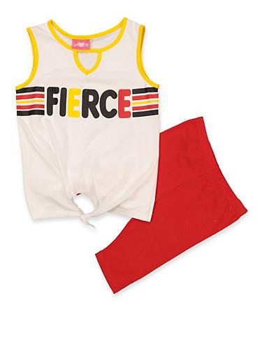 Girls 7-16 Fierce Tank Top and Bike Shorts Set,WHITE,large