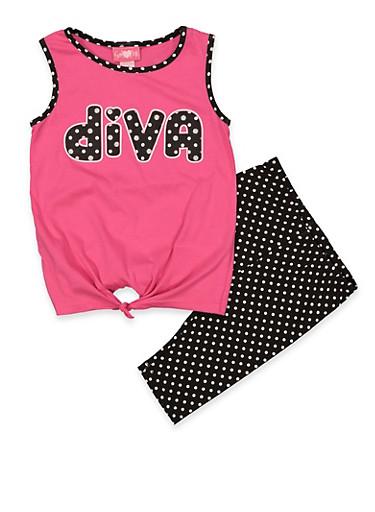 Girls 7-16 Diva Tank Top and Shorts | 1617048370013,FUCHSIA,large