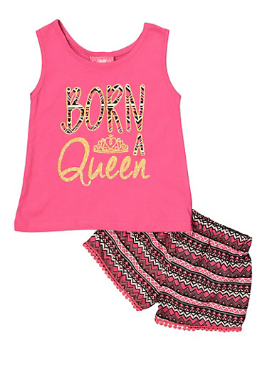 Girls 7-16 Glitter Queen Tank Top and Shorts,FUCHSIA,large