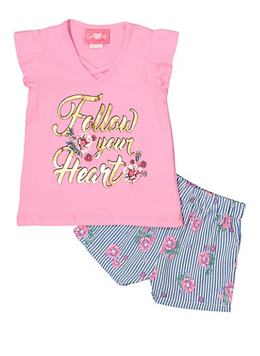 Girls 7-16 Foil Graphic Tee and Striped Shorts,PINK,large