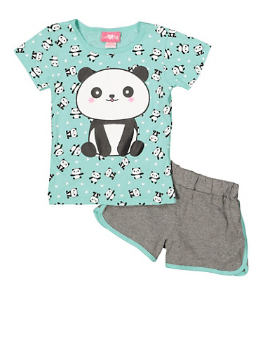 Girls 7-16 Panda Graphic Tee with Dolphin Shorts,MINT,large