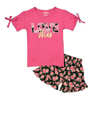 Girls 7-16 Love Wins Tee and Floral Shorts,FUCHSIA,large