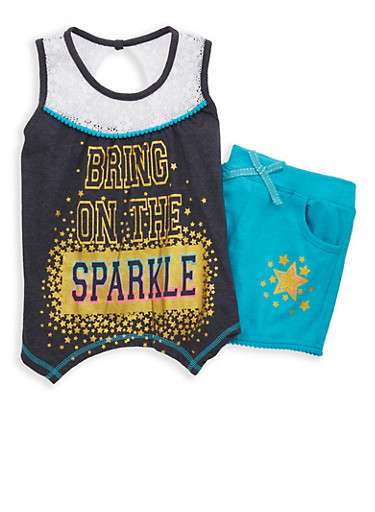 Girls 7-16 Glitter Graphic Tank Top with Shorts,CHARCOAL,large