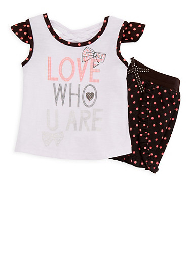 Girls 7-16 Glitter Graphic Top with Polka Dot Shorts,WHITE,large