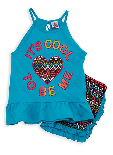 Girls 7-16 Graphic Tank Top with Printed Shorts,TURQUOISE,large