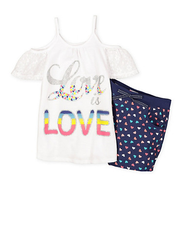 Girls 7-16 Cold Shoulder Top with Printed Shorts Set | Tuggl