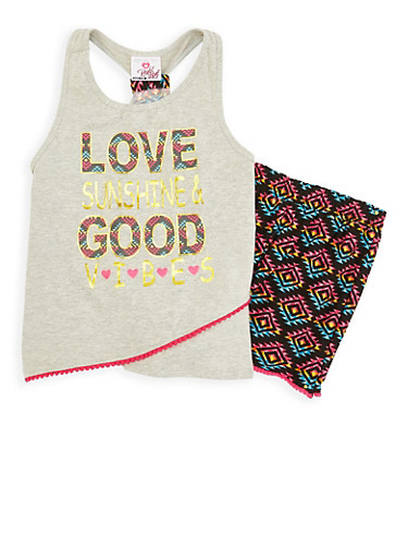 Girls 7-16 Printed Tank Top and Shorts Set,HEATHER,large