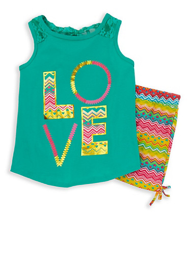 Girls 7-16 Love Graphic Tank Top with Printed Shorts,GREEN,large