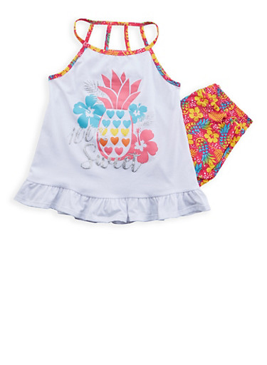 Girls 7-16 Graphic Top with Soft Knit Shorts Set | Tuggl